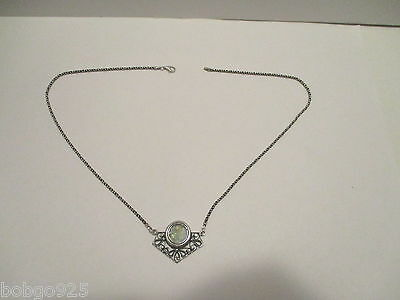 Necklace Roman Glass Pendant Filigree 925 Sterling Silver 18.5 inches long