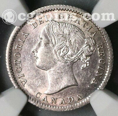 1858 NGC AU 53 CANADA Silver 10 cents Coin (17012801C)
