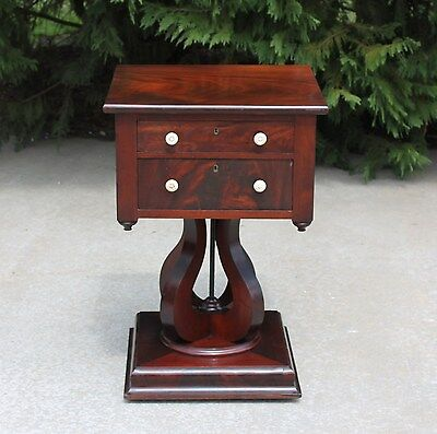 American Empire Flamed Mahogany Sewing Stand Side Table Ivory Pulls Unusual Base