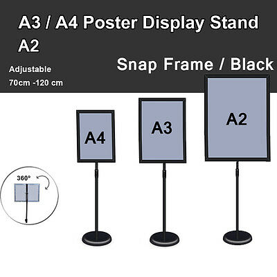 A2 A3 A4 Poster Stand Metal Frame Pedestal Sign Holder Display Adjustable Height