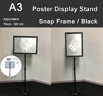 A3 Poster Floor Stand Snap Frame Pedestal Sign Holder Display Adjustable Height
