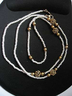 "NAPIER tiny faux pearl gold tone balls costume jewelry necklace clasp 17"" drop"