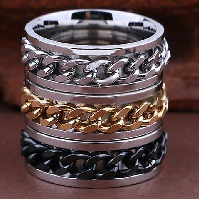 15  Spinner gold silver black chains Stainless steel Ring Jewelry lots wholesale