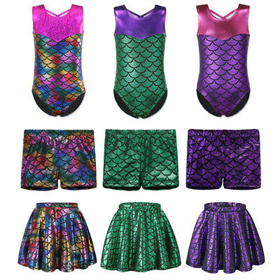 New Girls Gymnastics Leotards Mermaid Ballet Dance Athletic Skirt Shorts 3-12Y
