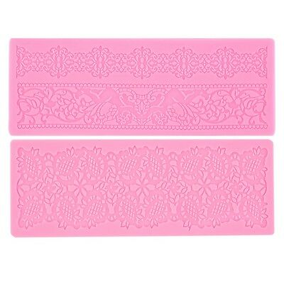 Lace Silicone Fondant Embossing Mold Cake Gum Paste Decorating DIY Mould HT