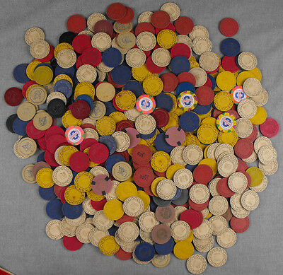 Poker Chips Lot Of 400 Plus Various Clay Casino Card Rooms $20 $10 $5 $1