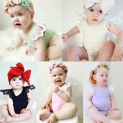 Newborn Infant Baby Girl Jumpsuit Bodysuit Floral Lace Romper Outfits Sunsuit