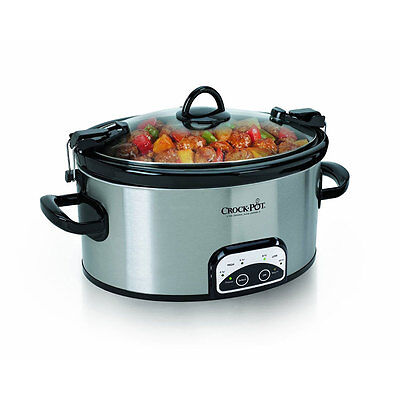 Crock-Pot SCCPVL605-S 6 Quart Programmable Cook & Carry Oval Slow Cooker Black