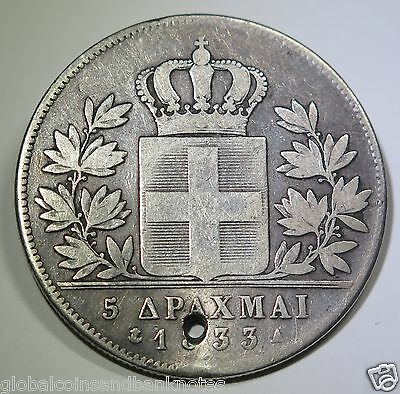 Greece - 1833 5 Drachma - Silver Coin: Holed As Imaged