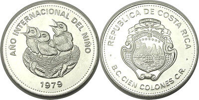 elf Costa Rica 100 Colones 1979 Silver Intl Yr of the Child  Birds on Nest