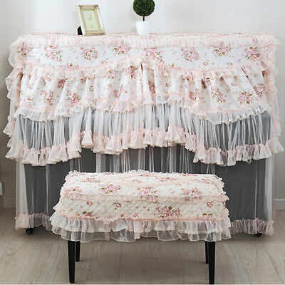 2X Pink Elegant Rose Pattern Lace Upright Piano Cover + Bench Stool Cover Set