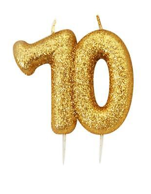 Gold Glitter Numeral Moulded Cake Candle - No 70