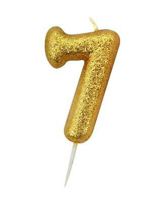 Gold Glitter Numeral Moulded Cake Candle - No 7