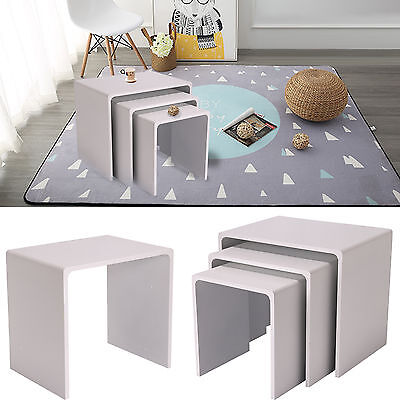 3Pcs White Nesting End Table Coffee Display Side Nested Table Set New