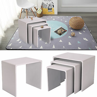 New 3Pcs Gloss Nesting End Table Coffee Display Side Nested Table Set White