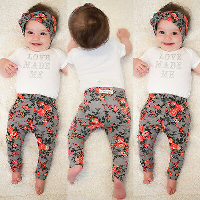 New Baby Girl Infant Newborn Floral Trousers Kid Bottoms Leggings Pants+Headband