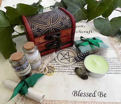 Home Blessings Spell Kit Chest Gift Pagan Wicca Witch  Money in a Wooden Box