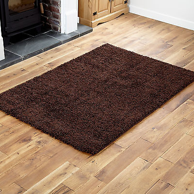 MODERN SMALL 40x60cm MAT RUG THICK 5CM PILE CHOCOLATE BROWN NON SHED SHAGGY RUGS