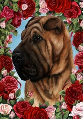 Large Indoor/Outdoor Roses Flag - Shar Pei 19053