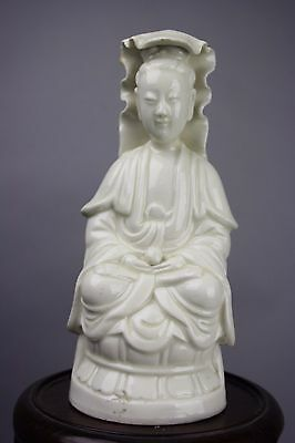 19th/20th C. Chinese White-Glazed Porcelain Figure Of Guanyin