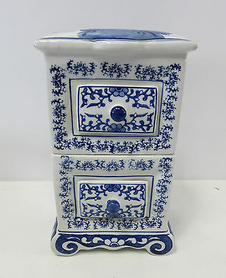 """Regency Blue & White Patterned Ironstone Model Cabinet With 2 Drawers 11"""" High"""
