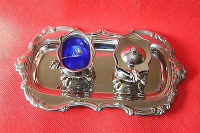 Pretty Silver - Plated Mustard Set With Blue Glass Liners On A Tray