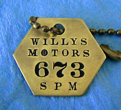 Rare Tool Check Brass Tag: WILLYS MOTORS; Automotive Jeep Maker; Willys Overland