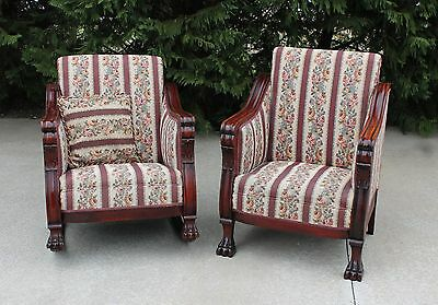 Pair Empire Revival Large Carved Fruitwood Chairs~ Carved Paw Feet c1890's