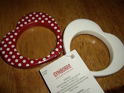 NWT 2 Toddler Gymboree Hearts Bangle Bracelets White Red Dots Valentines Day