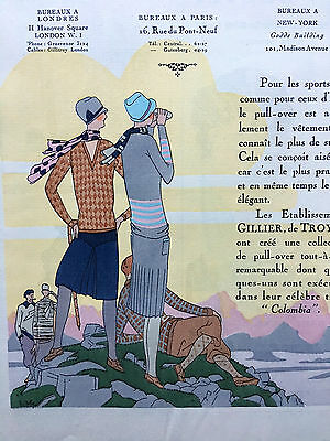 1927 Pochoir Colour Fashion Adverts from Art Goute Beaute AGB French Magazine