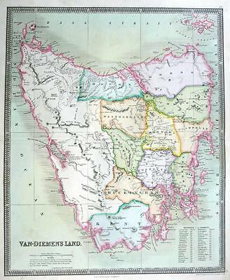 TASMANIA VAN DIEMENS BY DOWER TEESDALE  ENGRAVED MAP ORIGINAL HAND COLOUR  c1844
