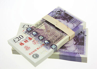 A Bundle of 100Pcs £20 GBP Pound Training Banknotes Collection Paper Money Props