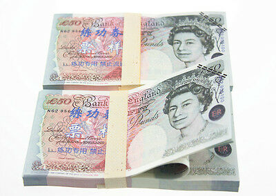 A Bundle of 100Pcs £50 GBP Pound Training Banknotes Collection Paper Money Props