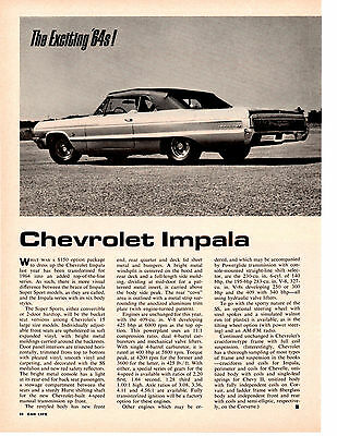 1964 Chevrolet Impala ~ Original 2-Page New Car Preview Article / Pictorial / Ad