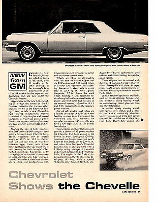 1964 Chevrolet ~ Original 4-Page New Car Preview Article / Ad