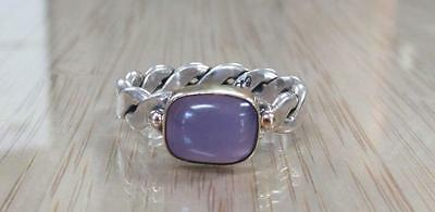 Purple Stone / Sterling Silver w/ Gold Overlay Ring Signed CD ~ 4.8grams 5-G9093