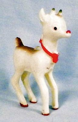 Vintage Rudolph the Red Nosed Reindeer Hard Plastic Christmas Ornament Retro