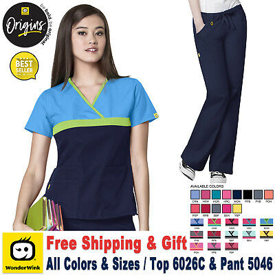 WonderWink Origin [XS-3XL] Women's Scrubs Set Medical Top Bottom Work Uniform