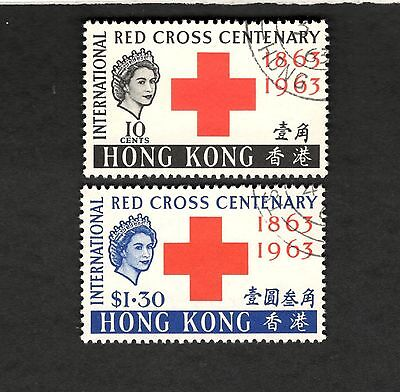 1963 Hong Kong SCOTT #219-20 RED CROSS CENTENARY Θ used stamp