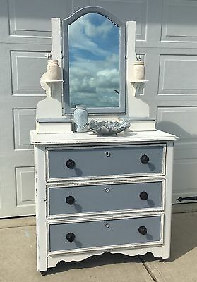 Gorgeous Antique Victorian Tall Dresser Mirror Shabby Beach Foyer Bedroom Vanity