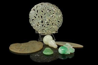 6 Antique Collection Of Chinese Carved Jade Hardstone Peking Glass Mop