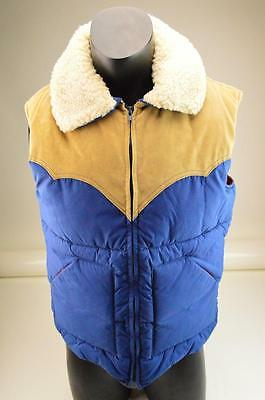 VINTAGE JCPENNEY WESTERN APPAREL PUFFY VEST w/ SHERPA COLLAR & SUEDE SHOULDERS!