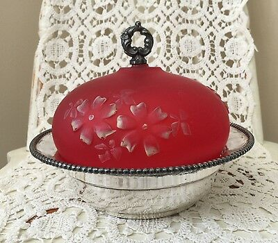 Victorian Round Floral Red Dome Quadruple Plate Butter Dish Benedict Mfg. Co.