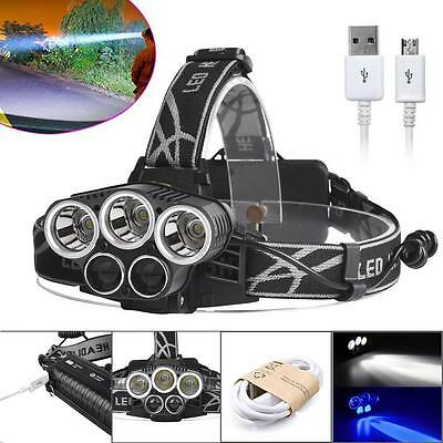 40000LM 5X XM-L T6 LED Rechargeable USB Headlamp Headlight Flashlight Torch@BA
