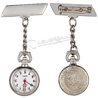 Vintage Silver Large Face Nurse Watch Pendant Pocket Fob Clip-on Brooch Watches