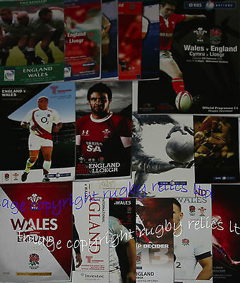 ENGLAND v WALES HOME AND AWAY RUGBY PROGRAMMES 2000 to 2016 GOOD+ CONDITION