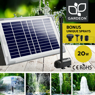 20W Solar Powered Fountain Outdoor Fountains Submersible Water Pump Pond Garden