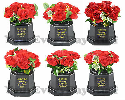Memorial Graveside Roses Flowers Plaque Ornament Lights