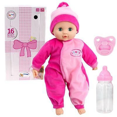 Baby Doll with Sounds New Born Soft Bodied Doll & Dummy Girls Pretend Play Toy