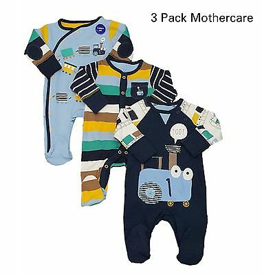 Baby Boys 3 Pack Babygrow Sleepsuit 100% Cotton TinyB -12/18 Ex Mother/care